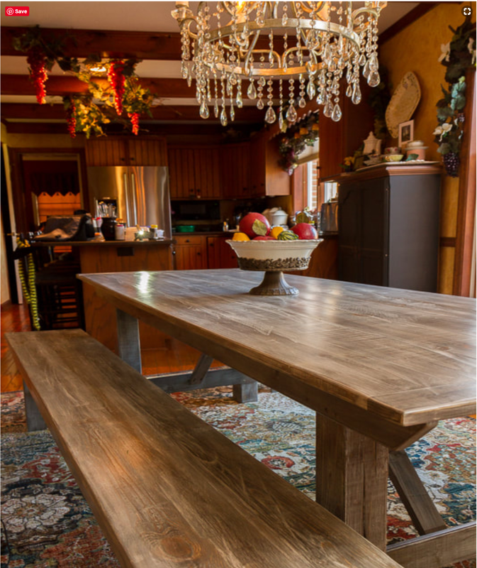 Gray Farm Table & Benches Crows Nest Arts